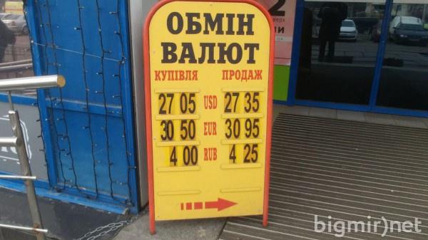 В обменниках Киева утром в пятницу доллар можно купить по 27,35 грн
