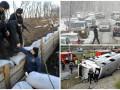 День в фото: Турчинов на передовой, авария с футболистами и снегопад в Киеве