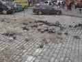 В центре Киева гейзер раскидал брусчатку (ФОТО)