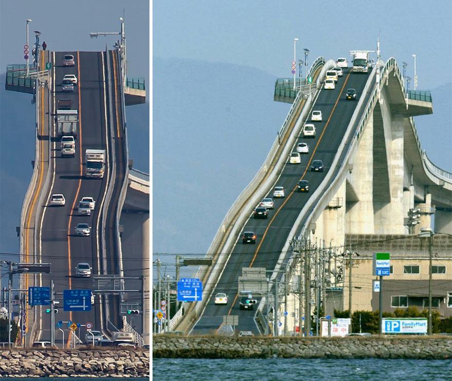 Японский автомобильный мост, похожий на американские горки
