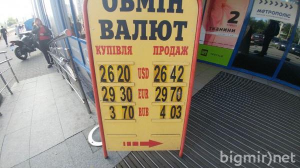 На теневом рынке Украины доллар утром в понедельник можно купить по 26,42 грн