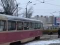 В Киеве трамвай сошел с рельсов
