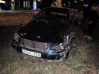 В Киеве Volkswagen вылетел с дороги из-за кота