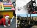 День в фото: гонки маленьких Санта-Клаусов, ретро-поезд во Львове и последствия пожара в Киеве