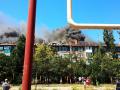 В оккупированной части Донбасса загорелась жилая многоэтажка