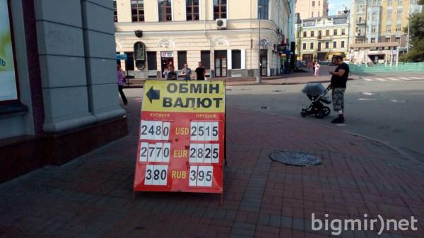 В обменниках Украины утром в среду, 31 июля, доллар в среднем можно купить по 25.15 грн/долл