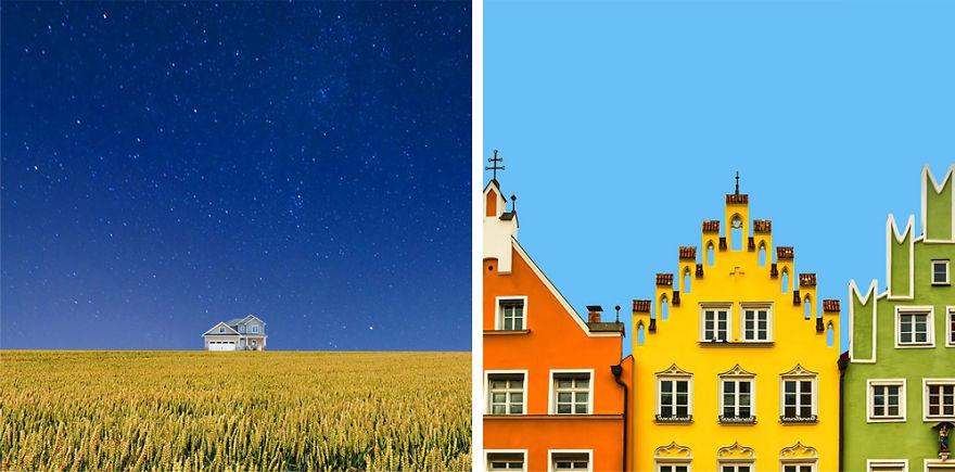 Минималистичные яркие фото архитектуры от графического дизайнера