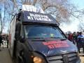 В Одессе разгромили автобус Дарта Вейдера за плакат с Саакашвили
