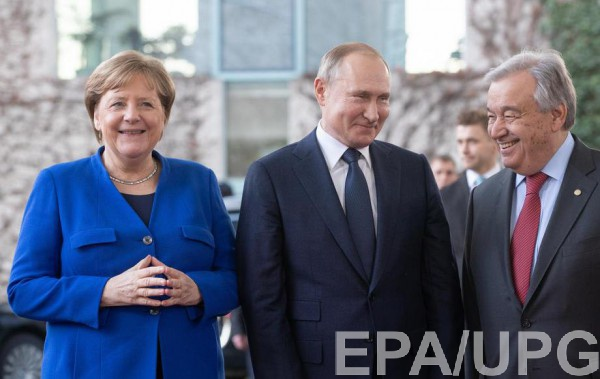 Меркель, Путин и Гутерриш в Берлине 19 января