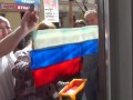 Во Львове активисты раскрашивали витрины в российские триколоры