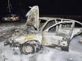 Под Киевом в результате лобового столкновения сгорел автомобиль
