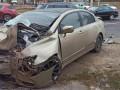 В Харькове легковушка влетела в остановку, пять пострадавших