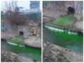 В Киеве река Лыбедь стала зеленой