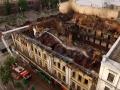 Последствия масштабного пожара в центре Киева показали с высоты птичьего полета