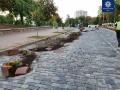 Пьяный на Lexus разгромил клумбы на Аллее Героев Небесной Сотни в Киеве
