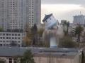 Появилось видео сноса водонапорной башни в Киеве