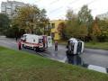 В Запорожье перевернулось маршрутное такси