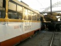 В Одессе автокран протаранил трамвай