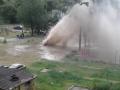 Фонтан с кипятком забил из-под земли в Днепровском районе Киева