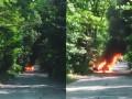 В Киеве на ходу вспыхнул автомобиль и сгорел дотла