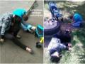 В Запорожье пьяные горе-родители уснули на траве рядом с кричащим ребенком в коляске