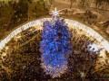 Главную елку Украины показали с высоты птичьего полета