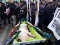 Протесты в Киеве: Под Раду принесли свинью в гробу