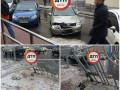 В Киеве водитель оставил номера на снесенном заборе