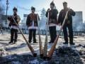 На Грушевского приехали гуцулы с трембитами (ФОТО)