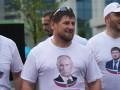 Кадыров в футболке с изображением Путина принял участие в велопробеге