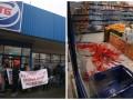В Киеве пикетировали АТБ, магазин залили кровью