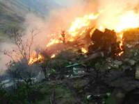 В Сети обнародовали фото и видео с места крушения самолета в Пакистане