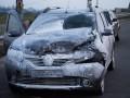 В Киеве на Северном мосту из-за ДТП сгорел автомобиль