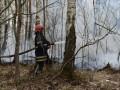 В Киевской и Житомирской областях продолжается тушение пожаров