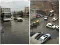Потоп на Оболони: вода затопила проезжую часть