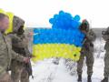 Над Донбассом поднялся желто-голубой флаг