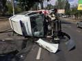 В Одессе сняли видео с перевернувшейся машиной скорой помощи