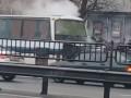 В Киеве загорелся рейсовый автобус, в котором находились люди