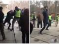 Появилось видео драки переселенцев с титушками в Пуще-Водице