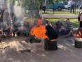С шинами и бочками: на Волыни протестуют шахтеры