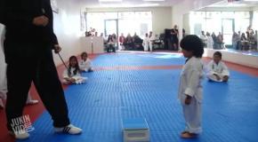 Маленький мальчик пытается получить белый пояс по тхэквондо