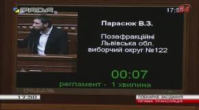 Ще раз відкриєте свій поганий рот, ми вас винесемо з Ради - Парасюк до Опозиційного блоку (4.12.2014)
