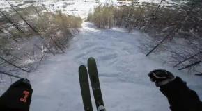 Красивый снежный спуск