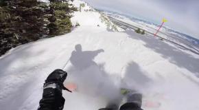 Крутой лыжный спуск