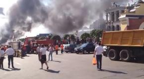 """""""Зачистка"""" баррикад на Майдане, 7 августа: пожар рядом с Домом профсоюзов"""