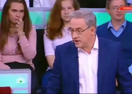 Гостя сУкраины вышвырнули изстудии впроцессе прямого эфира русского ТВ