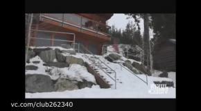 Опасное падение сноубордиста