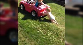 Младенец толкает автомобиль