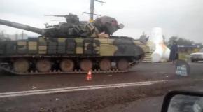 Военная техника на Востоке: танки в Донецке