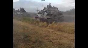 Военная техника на Востоке: колонна бронетехники в Луганске